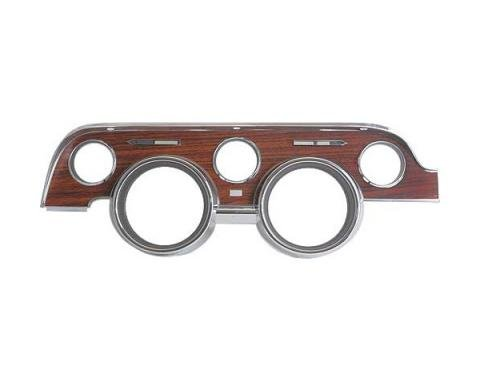 Ford Mustang Instrument Bezel - Plastic Wood Grain And Chrome