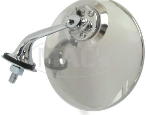 Round Stainless/Chrome British Style Outside Mirror, Left Side
