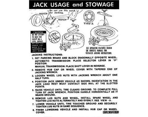 Ford Mustang Decal - Jack Instruction - Regular And Space Saver Spare
