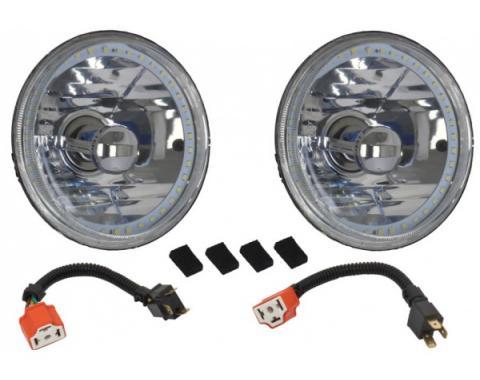 Headlight, 5 3/4 Inch Round Elite Diamond With Single ColorWhite LED Halo