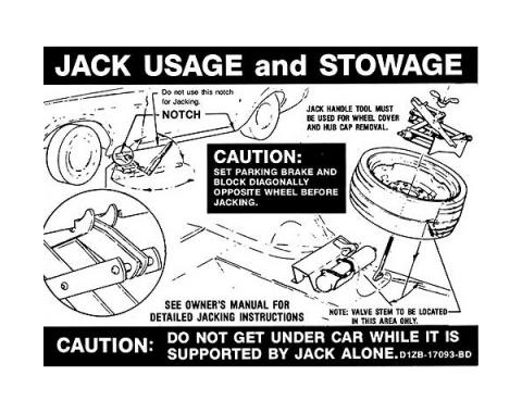 Ford Mustang Decal - Jack Instruction - Boss 351 Space Saver Spare