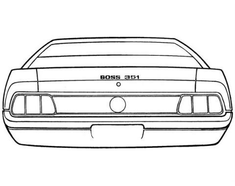 Ford Mustang Trunk Lid Stripe Kit - Boss 351 - 3 Pieces - Black