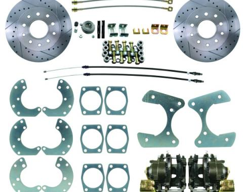 "1964-69 Ford 8.8-9"" Rear End Disc Brake Kit with E-Brake & Drilled Slotted Rotors"