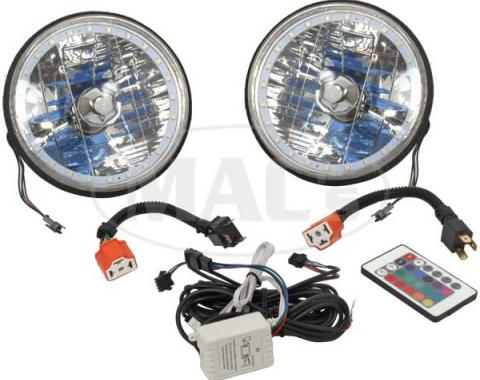 Headlight, 7 Inch Round White Diamond With Multi-Color LED Halo