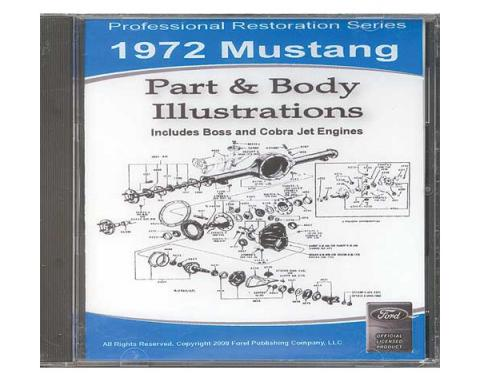 1972 Mustang Part & Body Illustrations On CD - For Windows Operating Systems Only