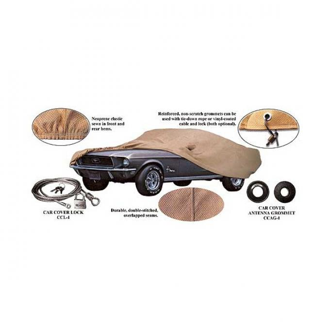 Ford Mustang Car Cover - Poly-Cotton - Gray - Mirror Pockets On Both Sides - Fastback