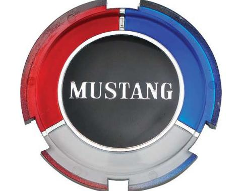 Ford Mustang Wheel Cover Spinner Insert - Red & White & Blue With Mustang Script