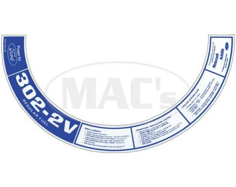 Ford Mustang Air Cleaner Decal - 302-2V Regular Fuel