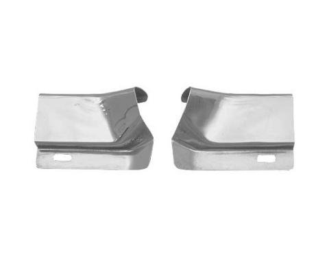 Ford Mustang Roof Drip Rail Moulding Joint Covers - Bright Metal - Fastback