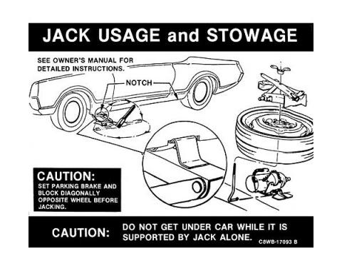 Ford Mustang Decal - Jack Instruction - Space Saver Spare