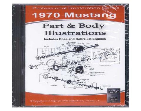 1970 Mustang Part & Body Illustrations On CD - For Windows Operating Systems Only