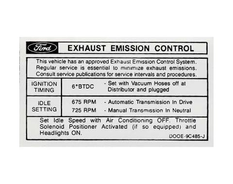 Ford Mustang Decal - Emissions - 428 Cobra Jet With Automatic Or Manual Transmission - After 1-1970