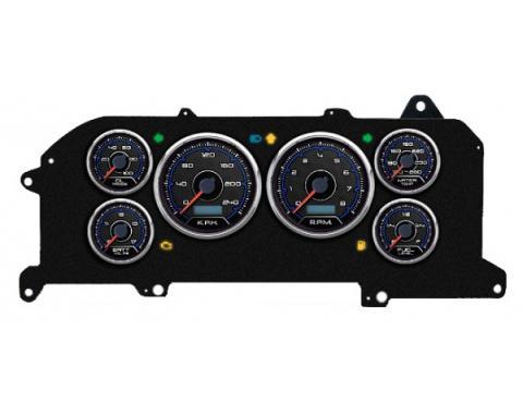 Mustang - New Vintage USA CFR Blueline Series Kit - 6 Gauge Package, 1987-1993 - Programmmable Speedometer KPH