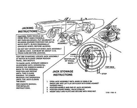 Ford Mustang Decal - Jack Instruction - Through Early 1967