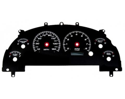 Mustang - New Vintage USA - Gauge Cluster Overlay - Performance ll Series, White Dial- 1999-2004