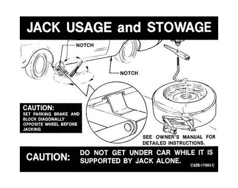 Ford Mustang Decal - Jack Instruction - Regular Wheels