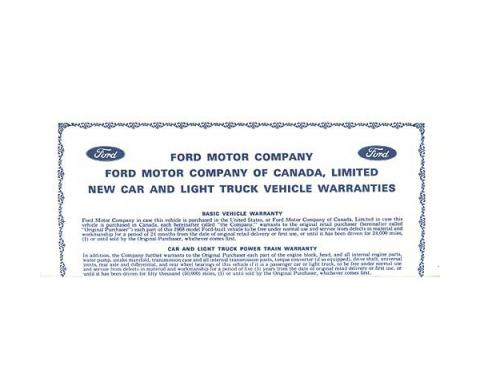 New Car Warranty Sheet - Ford