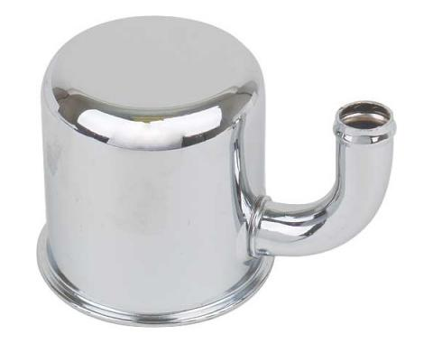 Ford Mustang Oil Filler Breather Cap - Reproduction - Up Turned Spout - Push On Type - Chrome - 260 Or 289 V-8
