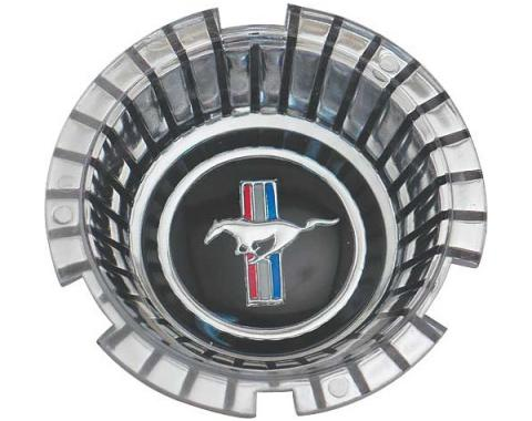 Ford Mustang Wheel Cover Spinner Center - Standard Black With Chrome Running Horse
