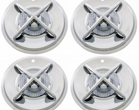 Wheel Cover Set, Spinning Cross-Bar Center, Chrome, For 15'' Steel Wheels