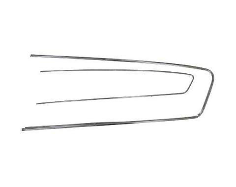 Ford Mustang Door Trim Panel Mouldings - 2 Pieces - Right -Stainless Steel - For Pony Interior