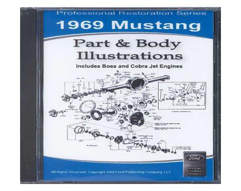 1969 Mustang Part & Body Illustrations On CD - For Windows Operating Systems Only