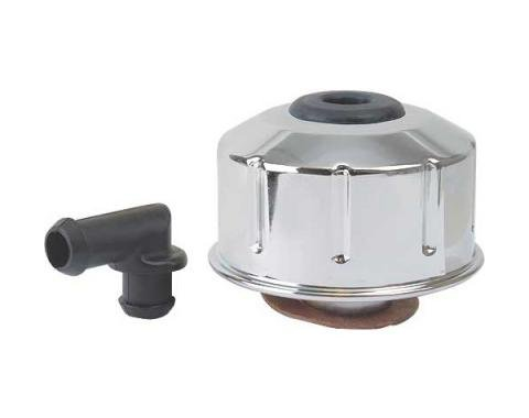 Ford Mustang Oil Filler / Breather Cap - Chrome - Twist-On Type With Spout - 289, 302, Except Boss, 351W, 390, 427, 428& 429
