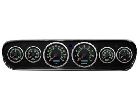 Mustang - New Vintage USA 69 Series DIY Gauge Panel Kit - 6 Gauge Package, Black Dial, 1964-1966 - Programmable Speedometer KPH