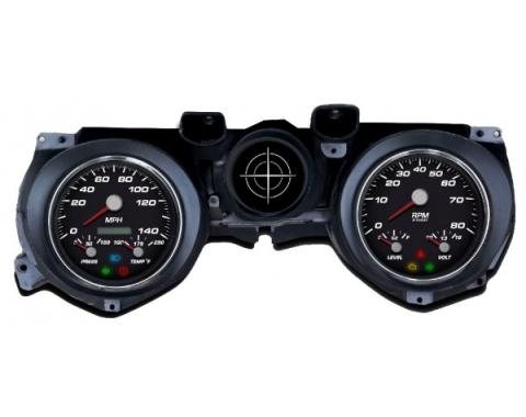 Mustang - New Vintage USA Performance Series Kit - 3 in 1 Style Gauges, Black Dial - 1971 - 1973