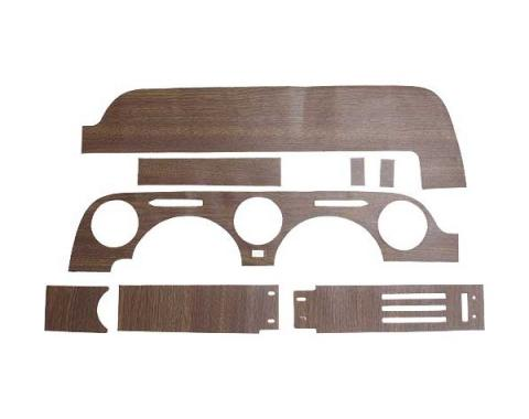 Ford Mustang Vinyl Wood Grain Dash Applique Set - 8 Pieces - Without Air Conditioning - Includes Instrument Cluster Surround