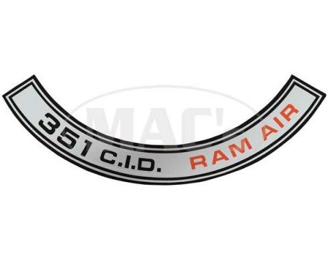 Ford Mustang Air Cleaner Decal - Shelby 351 Ram Air