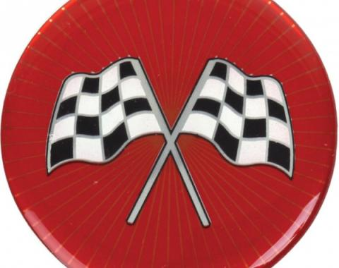 Wheel Spinner Emblem Set, With Crossed-Flags Design, 1-3/4'', Red