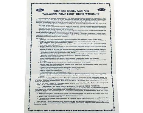 Ford Pickup Truck Light Truck Warranty Information Sheet