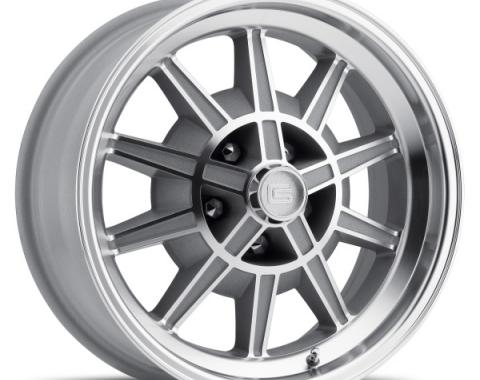 Mustang 17 x 8 GT7 Alloy Wheel, 5 on 4.5 BP, 4.75 BS, Machined/Clear Coat 1967-68