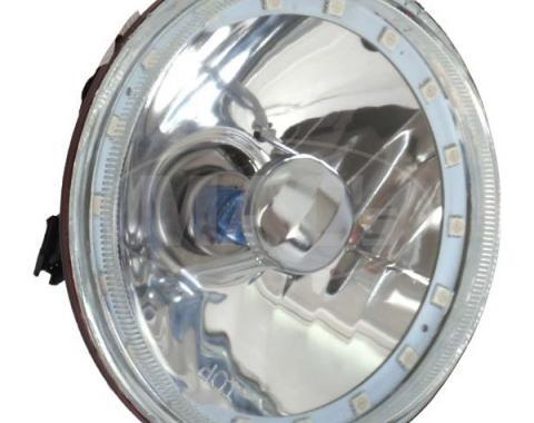 Headlight, 5 3/4 Inch Round Elite Diamond With Multi Color LED Halo