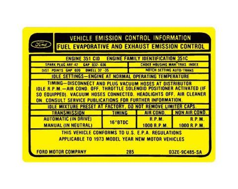 Ford Mustang Decal - Emissions - 351 4 Barrel V-8 With Manual Transmission