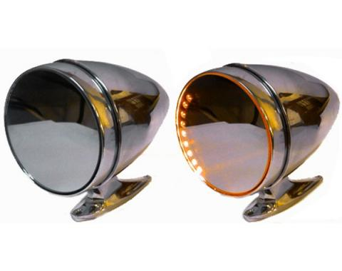 Mustang Amber LED Turn Signal Side Mirrors, Shelby Sport-Style With Long Base, 1964-1966