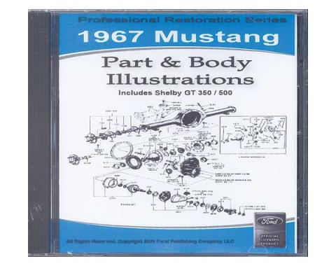 1967 Mustang Part & Body Illustrations On CD - For Windows Operating Systems Only