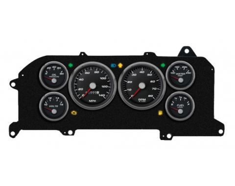Mustang - New Vintage USA Performance Series Kit - 6 Gauge Package, Black Dial - 1987-1993 - Mechanical Speedometer MPH