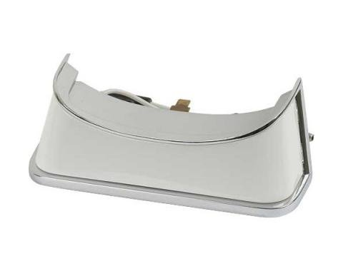 Ford Mustang Console Light Assembly - Die-Cast Body - Chromed Bezel - White Plastic Lens