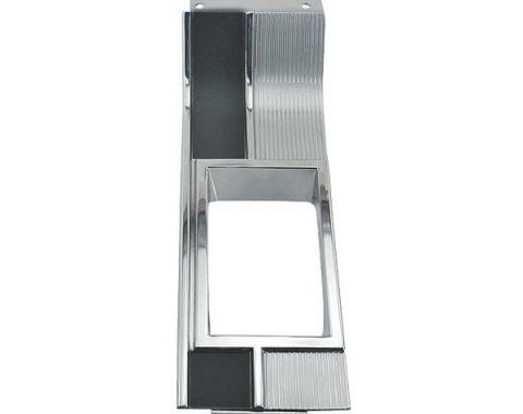 Ford Mustang Console Shift Plate - For 4 Speed Transmission- Chrome Ribs With Black Paint