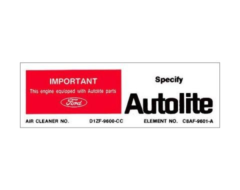 Ford Mustang Air Cleaner Decal - Autolite Replacement Parts- Boss 351