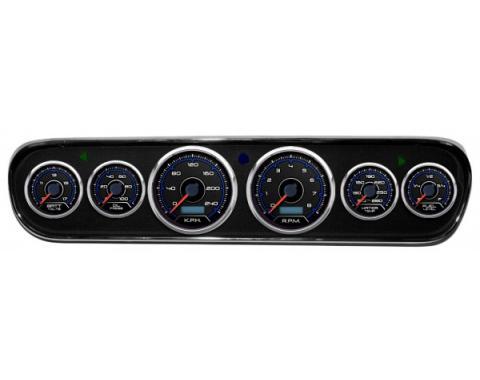 Mustang - New Vintage USA CFR Blueline Series DIY Gauge Panel Kit - 6 Gauge Package, 1964-1966 - Programmable Speedometer KPH