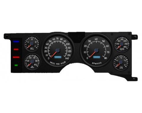 Mustang - New Vintage USA Performance ll Series Kit - 6 Gauge Package, Black Dial - 1979-1986 -  Programmable Speedometer KPH