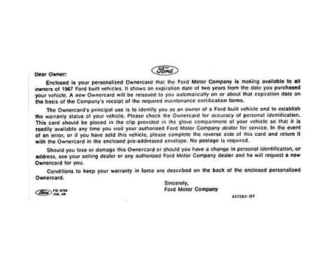 Personalized Warranty Card Instruction Sheet