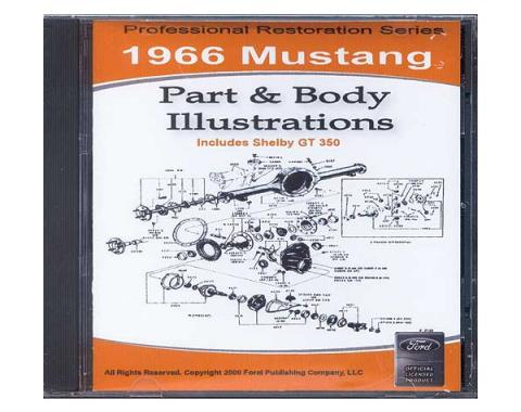 1966 Mustang Part & Body Illustrations On CD - For Windows Operating Systems Only