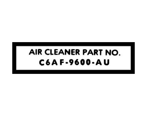Ford Mustang Air Cleaner Decal - Part Number