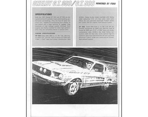 Ford Mustang Sales Specification Sheet - Shelby GT350 Or Shelby GT500