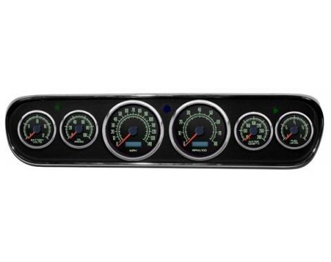 Mustang - New Vintage USA 69 Series DIY Gauge Panel Kit - 6 Gauge Package, Black Dial, 1964-1966 - Programmable Speedometer MPH