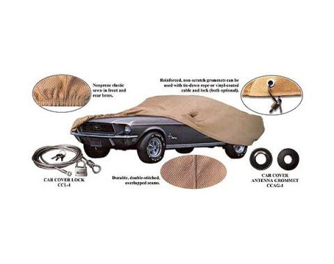 Ford Mustang Car Cover - Tan Flannel - Mirror Pocket On TheLeft Side - Hardtop And Convertible